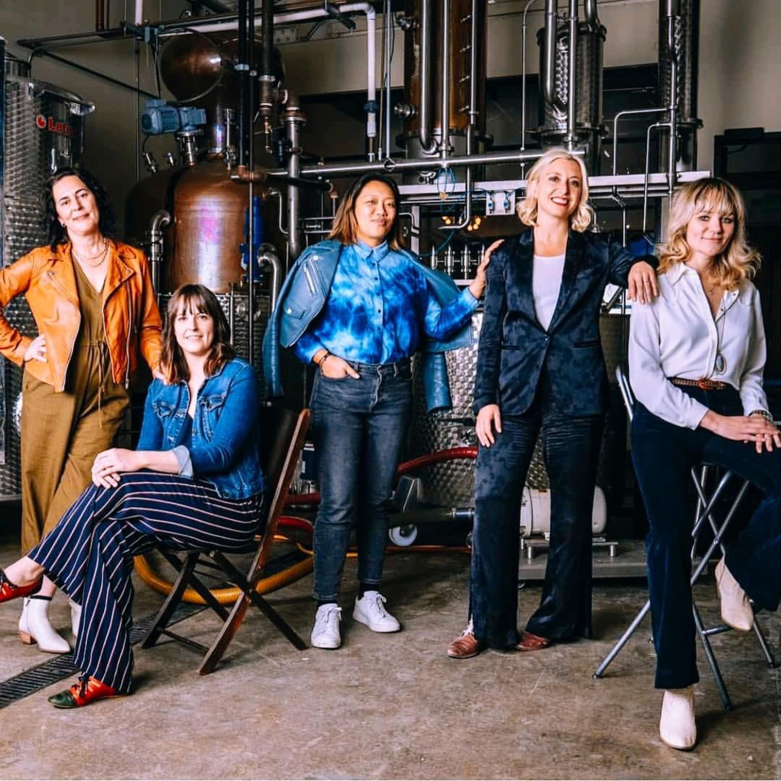 Future Gin founders Amy Atwood, Mary Bartlett, Freya Estreller, Natasha Case and master distiller Morgan McLachlan