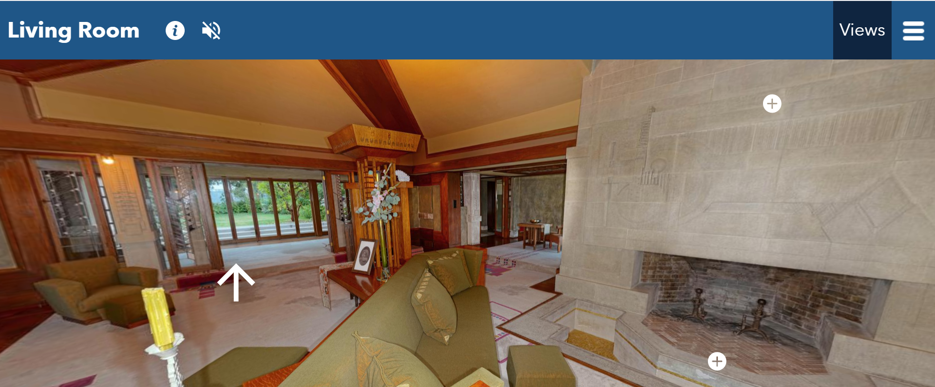 Screenshot of the Hollyhock House living room on the virtual tour