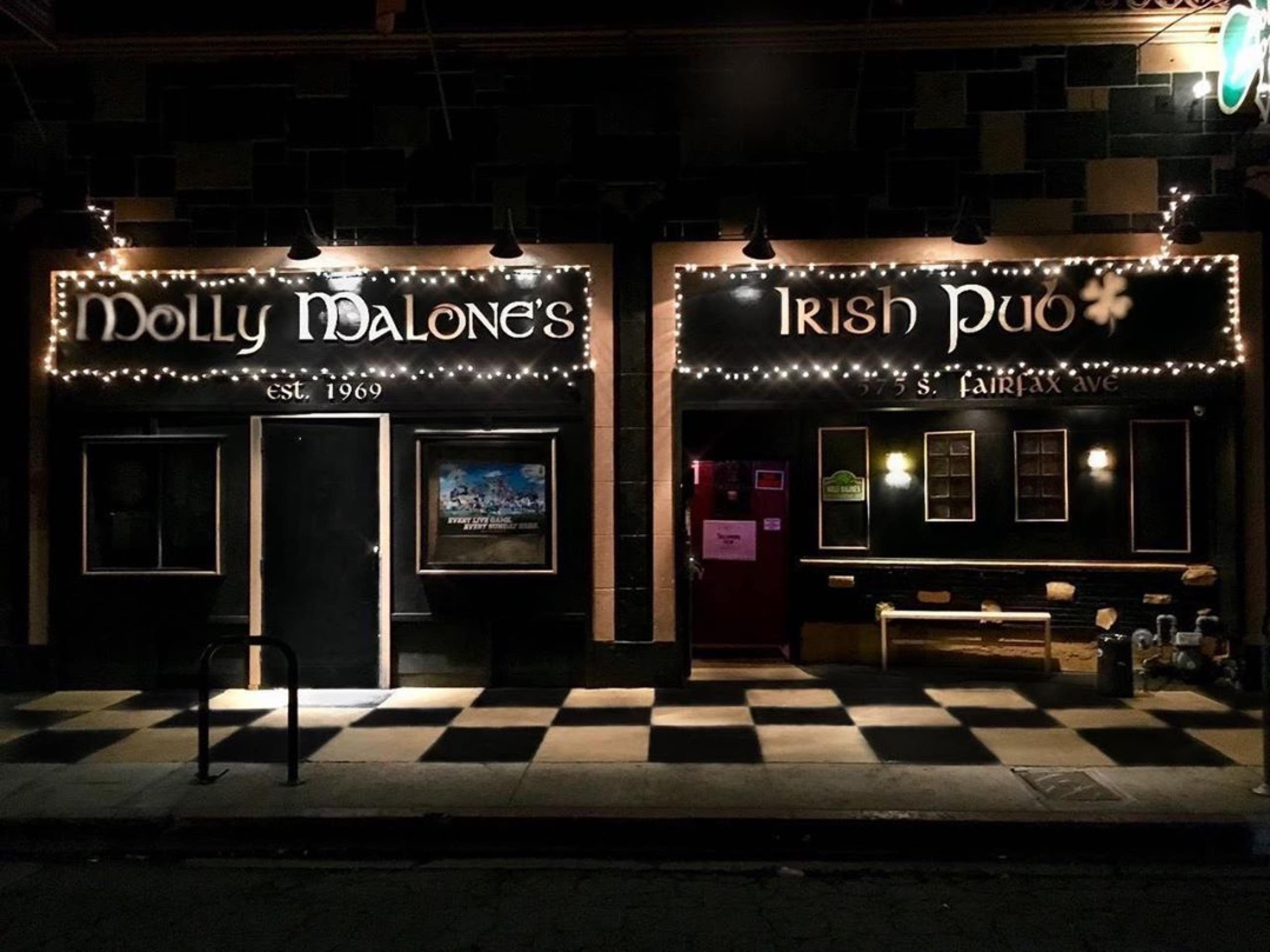 Exterior of Molly Malone's Irish Pub at night