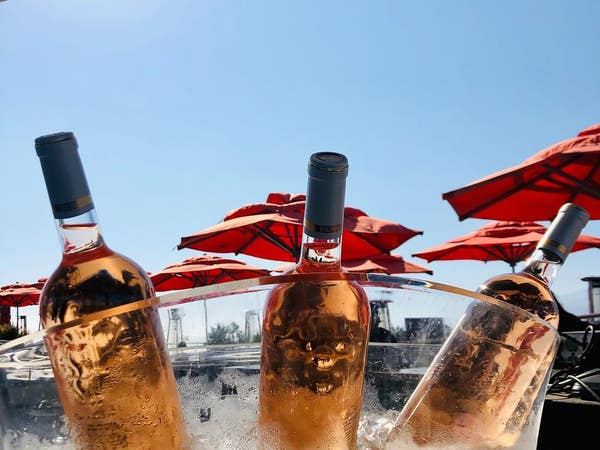 Rosé bottles at High Rooftop Lounge in Venice Beach