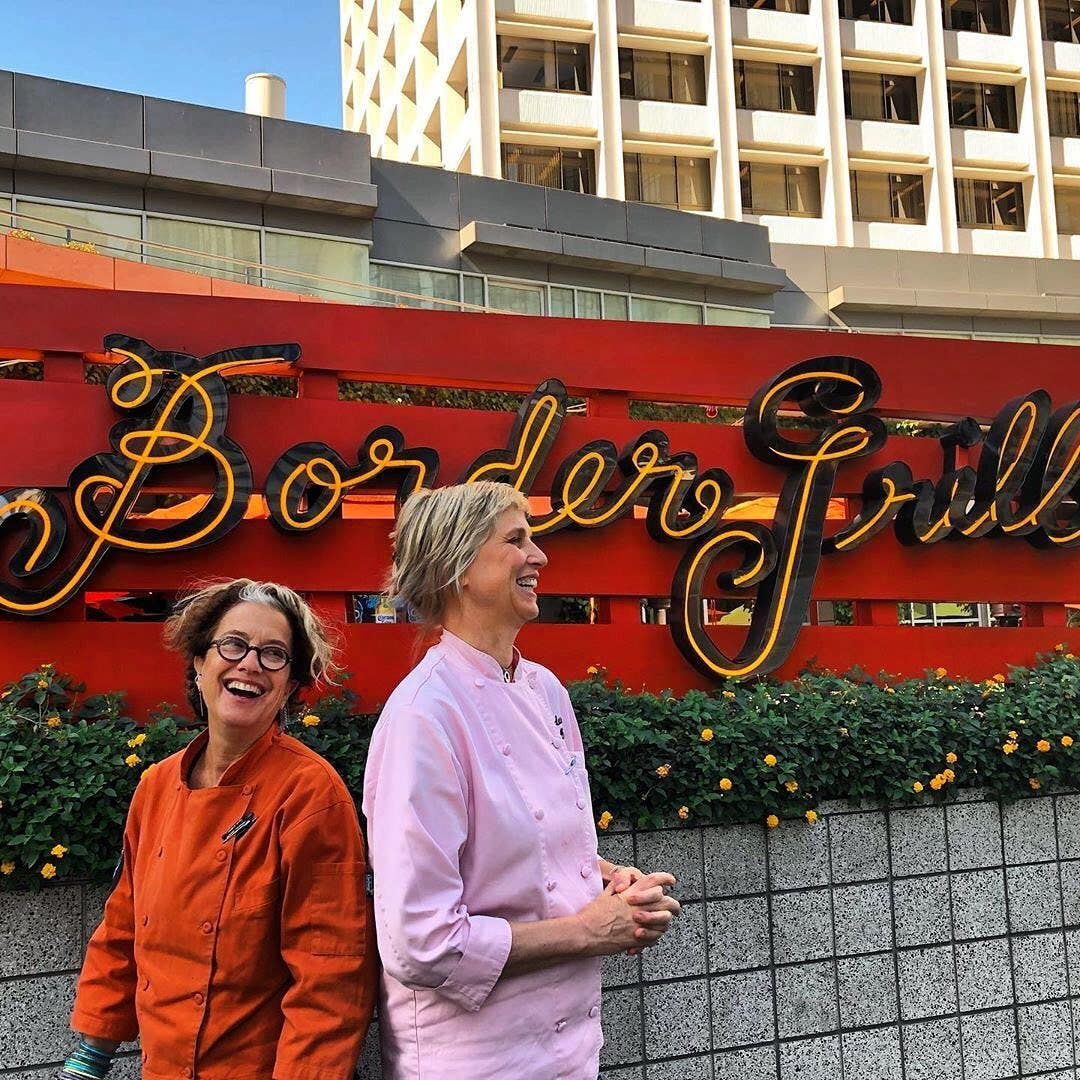 Susan Feniger and Mary Sue Miliken at Border Grill 2020