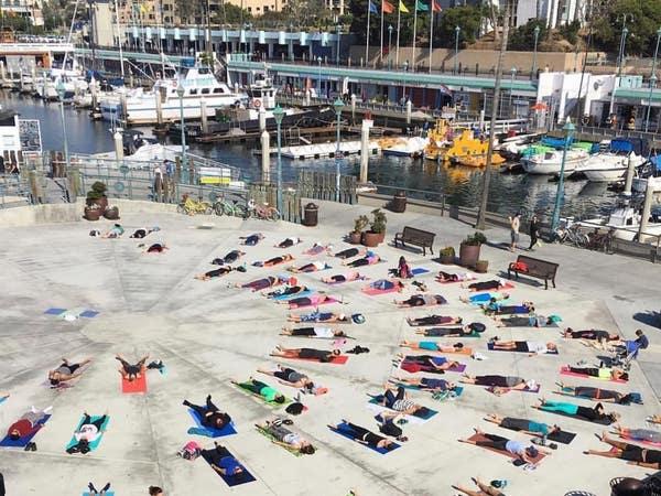 "Yoga in the ""Octagon"" at Redondo Beach Pier"