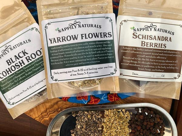 Herbs and teas at Nappily Naturals in Leimert Park