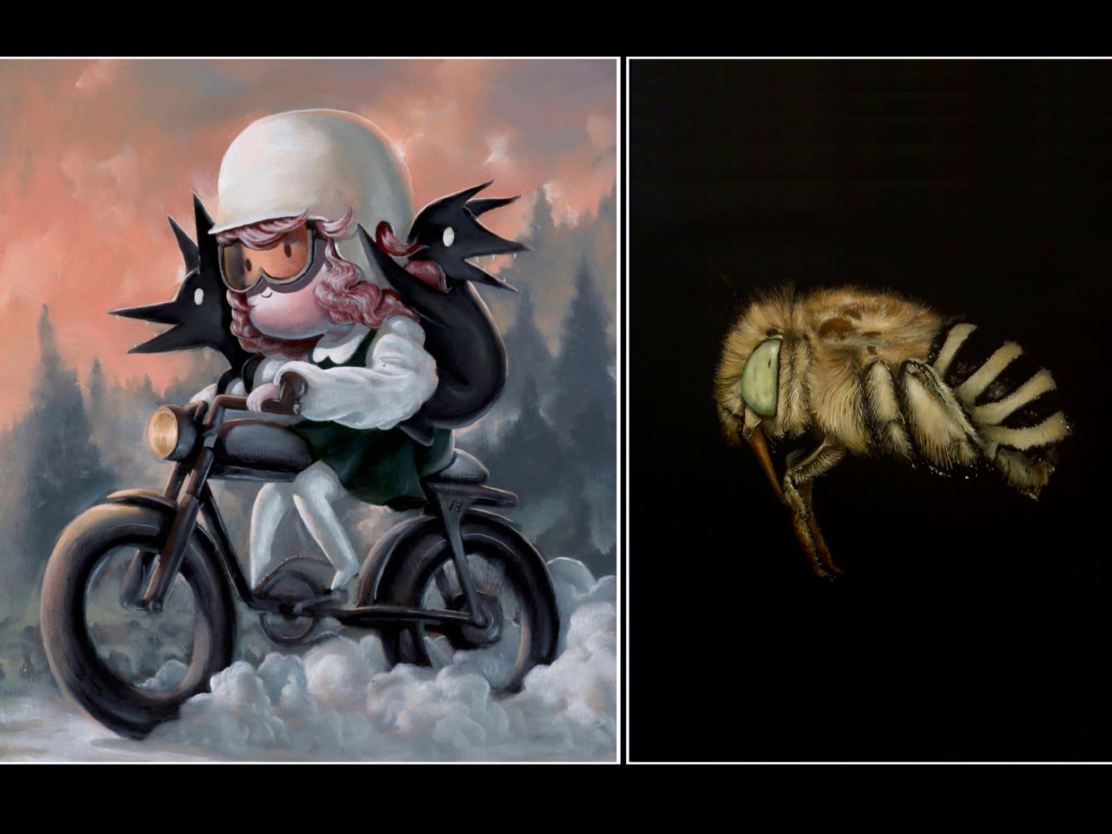 Two paintings, artist on left: Giorgiko; artist on right: Brad Woodfin