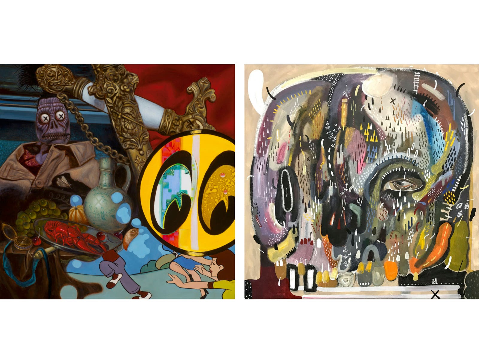 'Tomb of Young Greaseball' by Jack Shure (left) and 'Cover Up' by Reen Barrera (right)