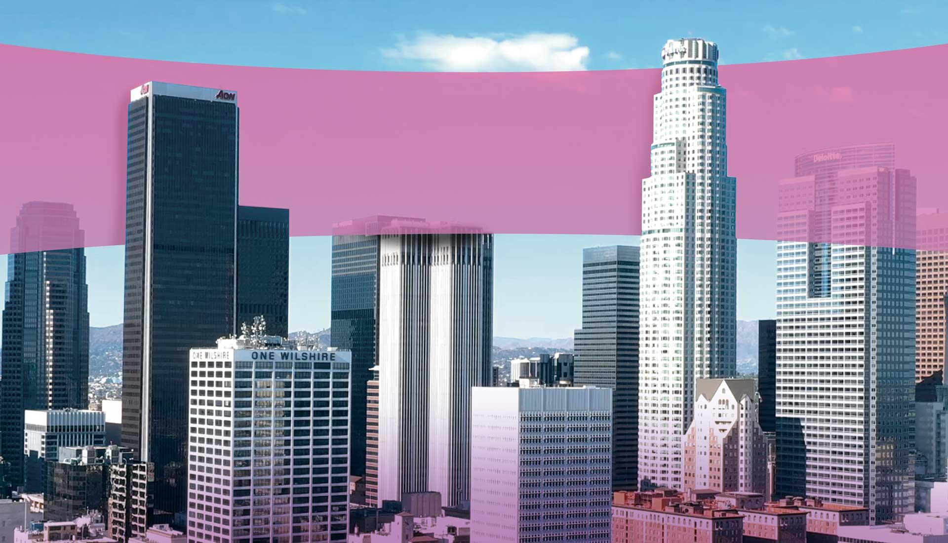 Downtown Skyline Purple