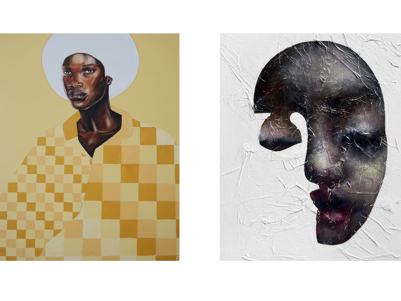 Work by Lauren Pearce (left) and Yulia Bas (right) for the upcoming show Art Genesis curated by Mashonda Tifrere