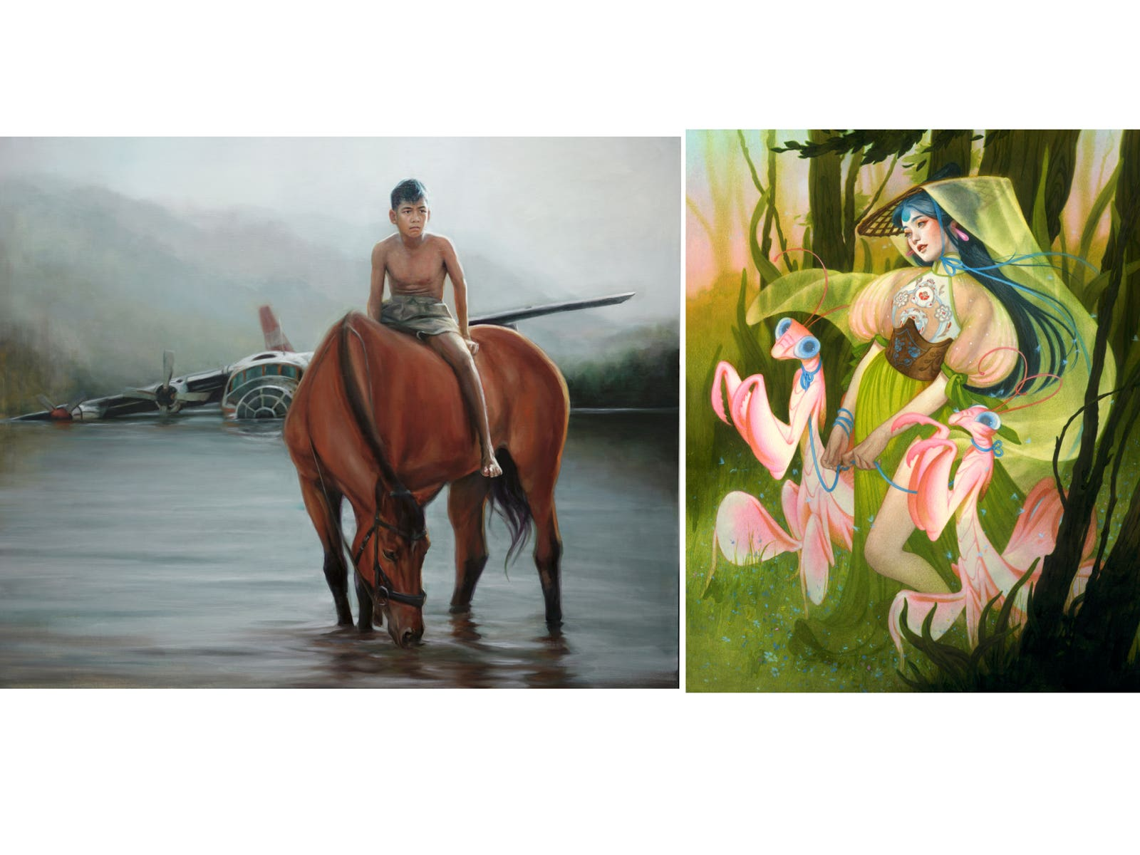 Work by Evoca1 (left) and Tran Nguyen (right)