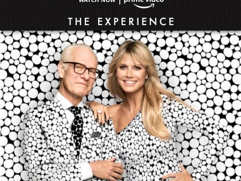 A flyer of Heidi Klum and Tim Gunn promoting the second season of Making the Cut on Amazon Prime Video.