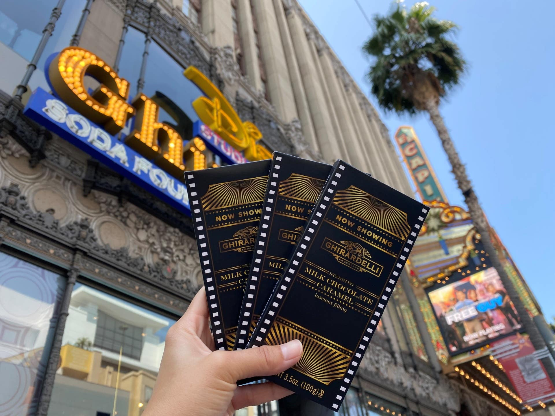 Hollywood Chocolate Bars outside of Ghirardelli Soda Fountain & Chocolate Shop in Hollywood