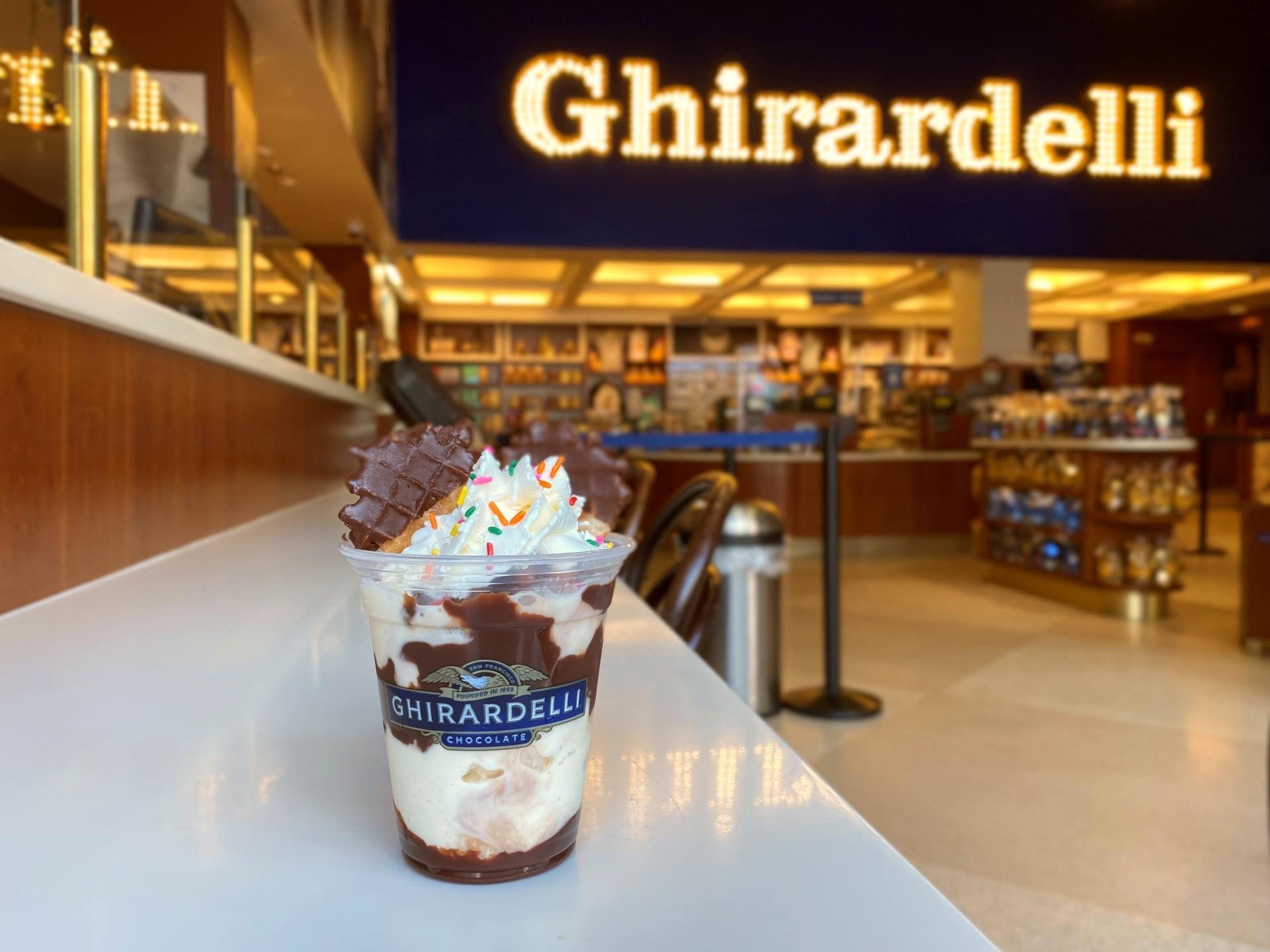 Magical Sundae at Ghirardelli Soda Fountain & Chocolate Shop in Hollywood