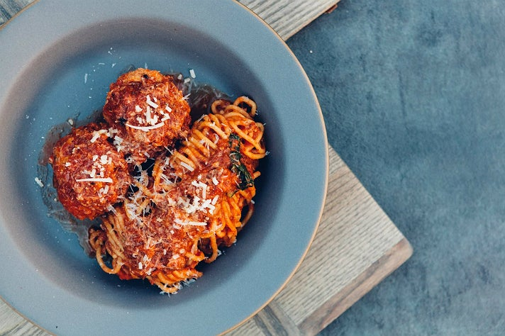 Spaghetti and meatballs with Sunday gravy | Photo courtesy of Knead & Co, Facebook