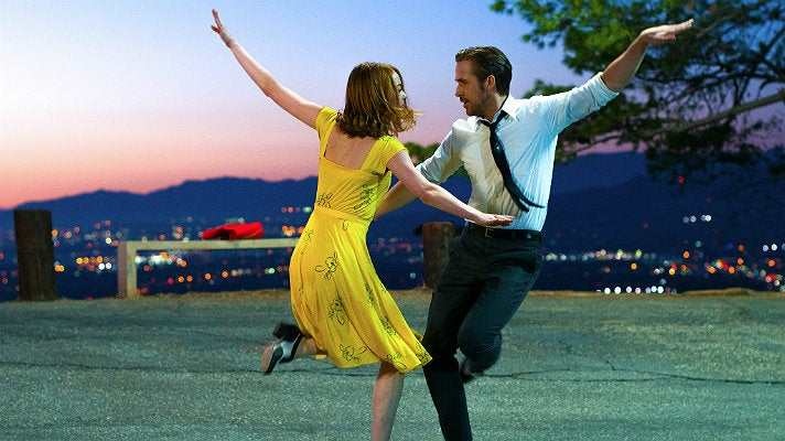 "Emma Stone and Ryan Gosling dancing in Griffith Park in ""La La Land"" 