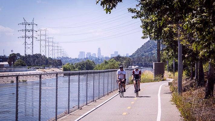 Bikers on the L.A. River Bike Path