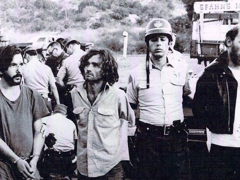 Charles Manson arrested at Spahn Ranch in August 1969