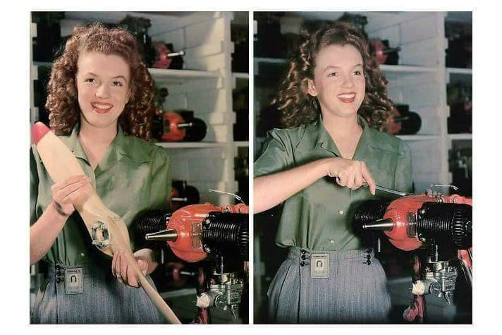 """Norma Jeane Dougherty at the Radioplane factory, photographed by David Conover for """"Yank"""" (June 1945)"""