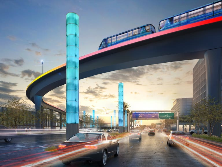 LAX APM Guideway over Century Boulevard   Rendering courtesy of LAWA