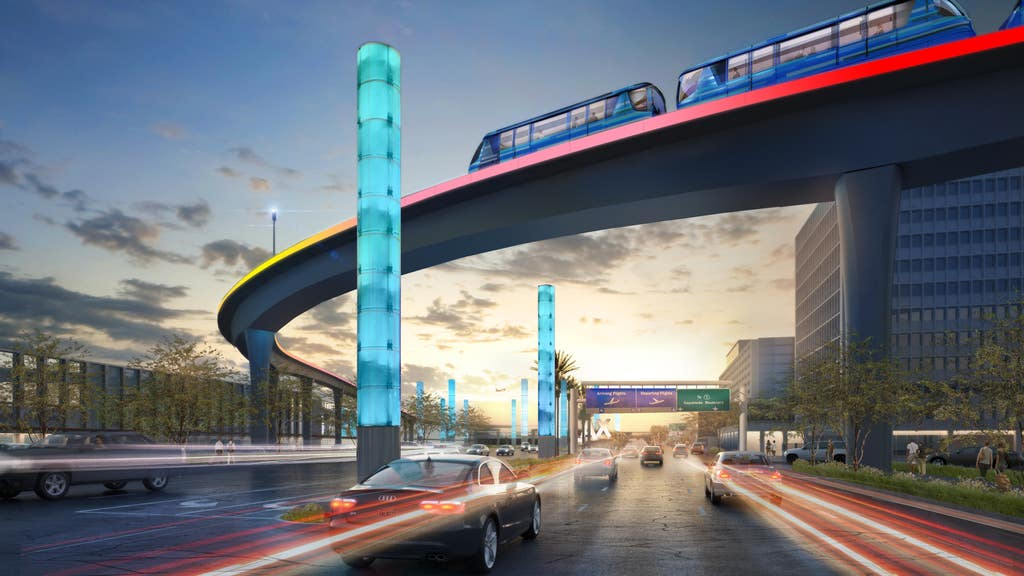 LAX APM Guideway over Century Boulevard | Rendering courtesy of LAWA