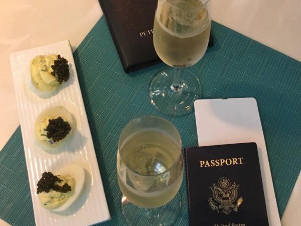 Caviar deviled eggs and bubbly at Petrossian LAX Tom Bradley International Terminal