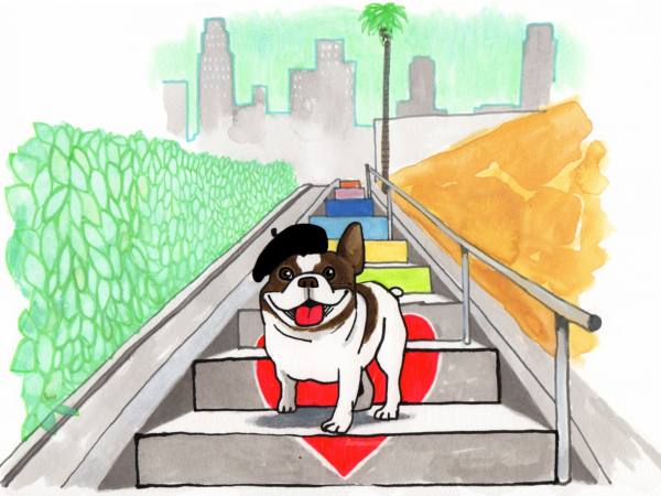 French Bulldog in Silver Lake | Illustration by Max Kornell