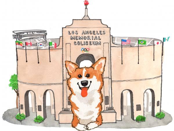 Corgi at the Coliseum | Illustration by Max Kornell