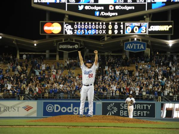 Clayton Kershaw clinches his no-hitter at Dodger Stadium on June 18, 2014