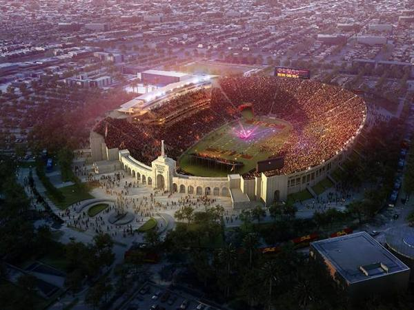 Aerial view of Los Angeles Memorial Coliseum rendering