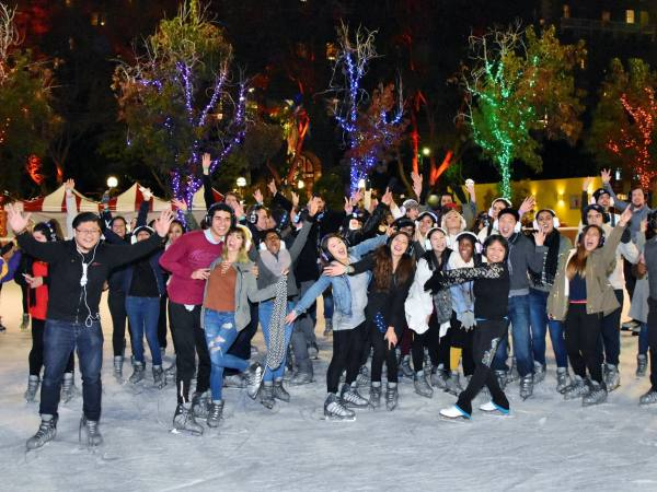Silent Skate Party at the Bai Holiday Ice Rink Pershing Square