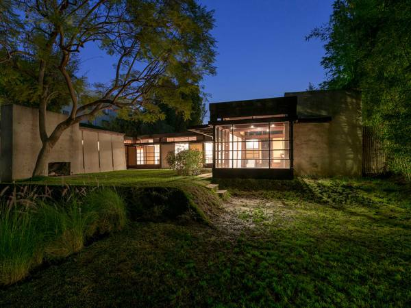 Schindler House exterior at night