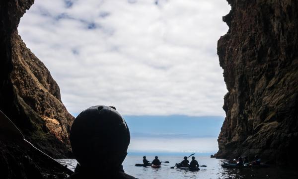 Kayaking through Painted Cave