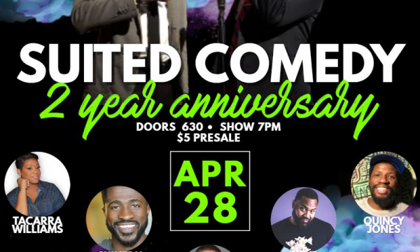 Suited Comedy 2 Year Anniversary Flyer