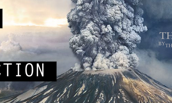 """Show logo: volcano exploding with text: """"Theatre by the Blind"""""""