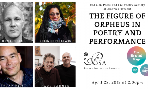 Flyer with pictures of poets and performers and event details.