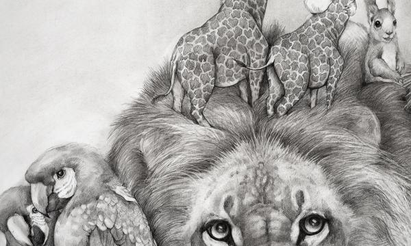 "Adonna Khare, Detail from ""The Lions,"" carbon pencil on paper, 96 x 72"""