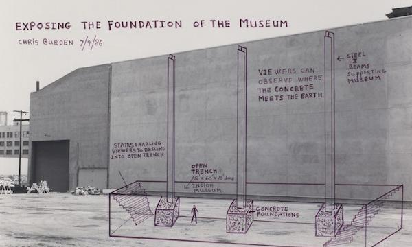 Image credit: Chris Burden, Exposing the Foundation of the Museum, 1986, marker on black and white photograph, frame (Lt-Med Wood): 15 1/4 x 18 1/8 x 1 3/4 in. (38.74 x 46.04 x 4.45 cm); image: 10 7/8 x 14 in. (27.62 x 35.56 cm). The Museum of Contemporary Art, Los Angeles, gift of Leonard Nimoy and Susan Bay-Nimoy.