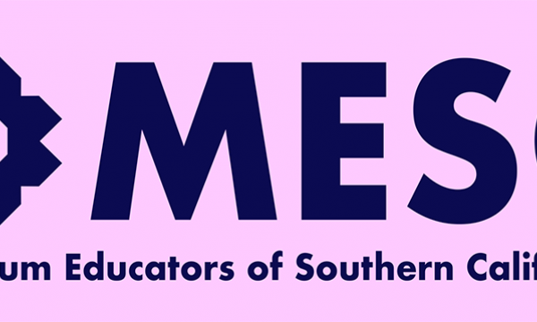 MESC, Museum Educators of Southern California. Logo in dark blue on pink background