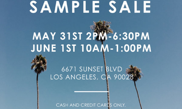 Sol Angeles Sample Sale: May 31st 2-6:30 pm, June 1 10-1:00pm