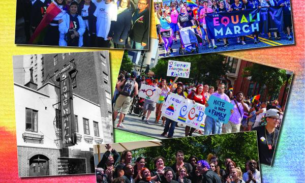 On a rainbow background are photographs of protesters marching, VOX Femina at the Women's March, the Trans Chorus of Los Angeles performing, and the Stonewall Inn.