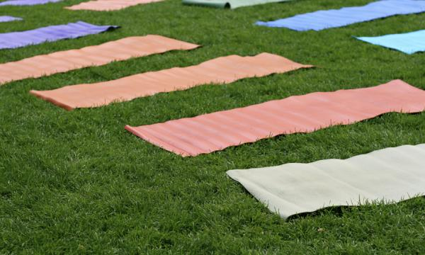 Colourful yoga mats on a green lawn