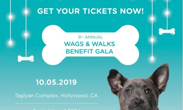 Tickets are now available for the 9th Annual Wags and Walks Benefit Gala to be held in Hollywood on October 5, 2019! Join us for an evening of fun and fundraising to support our dogs in need with host Judy Greer and special guests Patrick Stewart and Sunny Ozell. For more information, please visit bit.ly/WWxGala2019