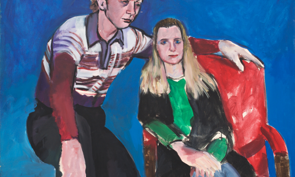 Patrick Angus painting: a man and a woman sat down in a blue room. The woman looks straight on; the man looks off to the side.