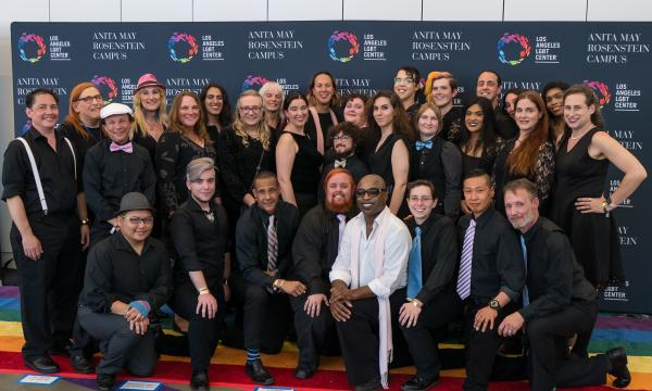 The Trans Choir of Los Angeles posing for a group photo