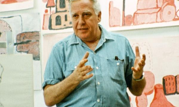 Film still of Philip Guston in his Woodstock studio, summer 1971, from footage by Michael Blackwood Productions