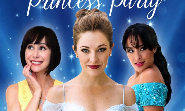 Susan Egan, Laura Osnes, and Courtney Reed in formal gowns with a blue, glittery backdrop.