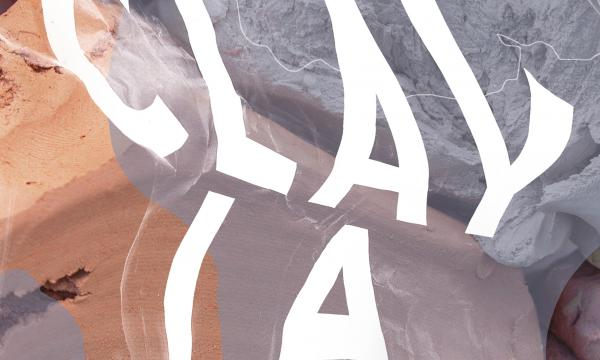 """CLAY LA"" in white lettering against multicolored background"