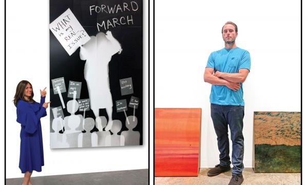 From Left to right - Karen AMy Finkel Fishof  with work, Ryan Linke with work