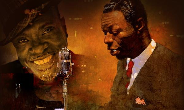 Collage of Keith David smiling and a painting of Nat King Cole playing the piano.