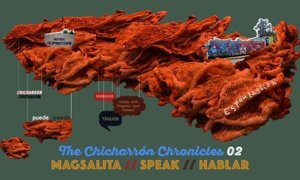 Image of chicharron with small images of Historic Filipinotown and words in both Spanish and Tagalog.
