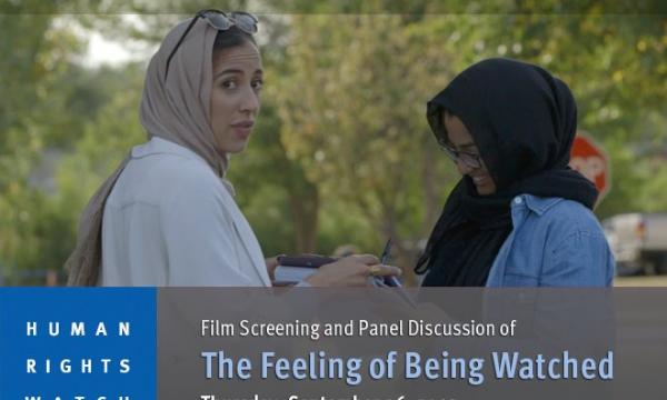 Poster of the Feeling of Being Watched. Film Screening and Panel Discussion on 9/26.