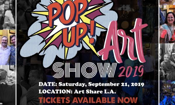 Pop Up Art Show image with date, location, and ticket information for the event.